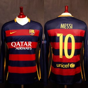 A Lionel Messi Game-Used #10 FC Barcelona Home Shirt.  11/24/2015 Barcelona v Roma (6-1).  Messi Scored 2 Goals (18', 59').