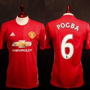 A Paul Pogba Game-Used & Unwashed #6 Manchester United Home Shirt.  2016/17 Premier League.