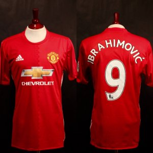A Zlatan Ibrahimovic Game-Used #9 Manchester United Home Shirt.  2016/17 Premier League.