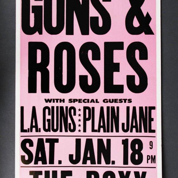 1986 Guns N' Roses Concert Poster @The Roxy Sunset Strip