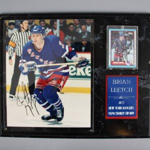 Brian Leetch Signed New York Rangers 8x10 Photo & Rookie Card Hockey Plaque - JSA