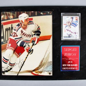 Sergei Zubov Signed New York Rangers 8x10 Photo Plaque - JSA