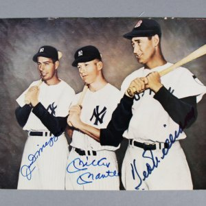 Mickey Mantle, Joe DiMaggio & Ted Williams Multi-Signed 8x10 Color Photo