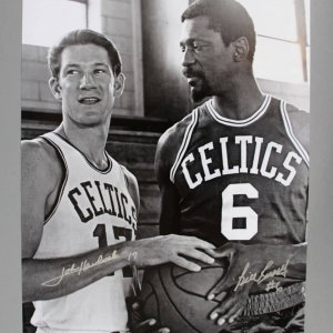 Bill Russell & John Havlicek Dual Hand Signed 16x20 B&W Boston Celtics Photo - JSA