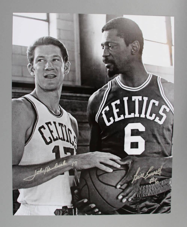 Bill Russell & John Havlicek Dual Hand Signed 16x20 B&W Boston Celtics Photo - JSA
