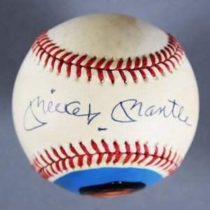 Mickey Mantle Yankees Signed OAL Bobby Brown Portrait Baseball - JSA