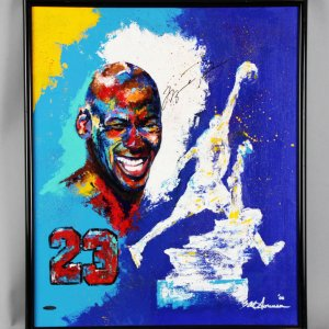 Michael Jordan Signed Chicago Bulls Original Painting on Canvas by Al Sorenson - COA UDA