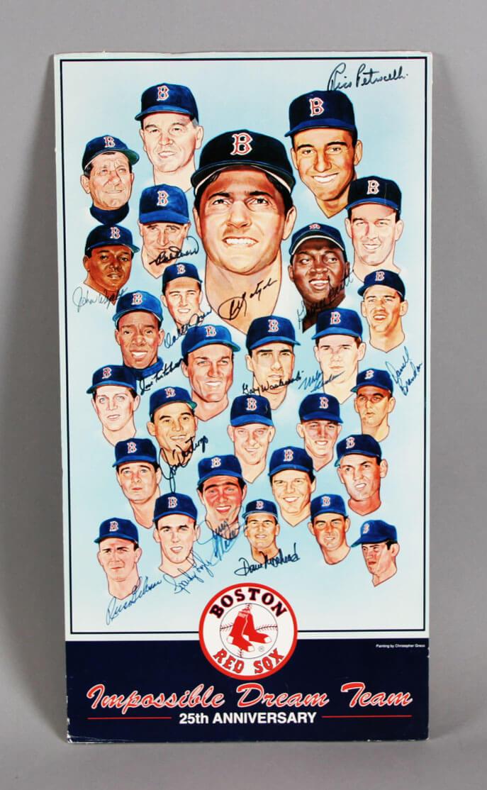 "Large 1967 Red Sox ""Impossible Dream' AL Champs Signed Poster w/ Yaz, Doerr, Lyle - JSA Full LOA"