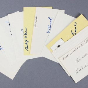 Baseball HOFer's Signed 3x5 Index Cards (10) - Edd Roush etc. - JSA
