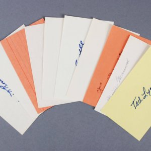 Baseball HOFer's Signed 3x5 Index Cards (8 ) - Edd Roush etc. - JSA