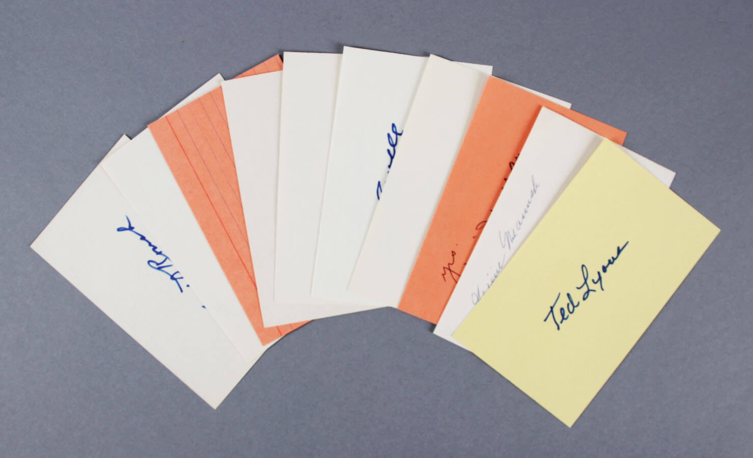 Baseball HOFer's Signed 3x5 Index Cards (8 ) - Edd Roush etc. - JSA