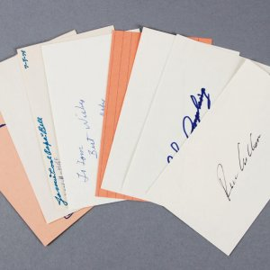 Baseball HOFer's Signed 3x5 Index Cards (8) - Edd Roush etc. - JSA
