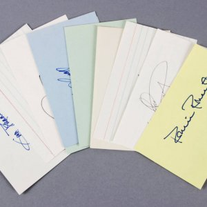 Baseball HOF Pitchers Signed 3x5 Index Cards (10) - Don Drysdale etc. - JSA