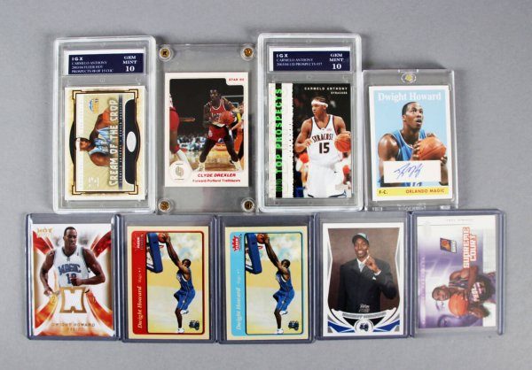 Modern NBA Basketball Rookies & Inserts Card Lot (9) Incl. Dwight Howard Auto etc.