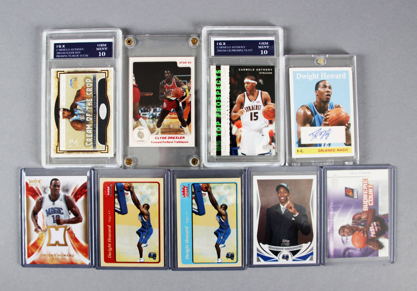 NBA Basketball Rookies & Inserts Card Lot (9) Incl. Dwight Howard Auto etc.