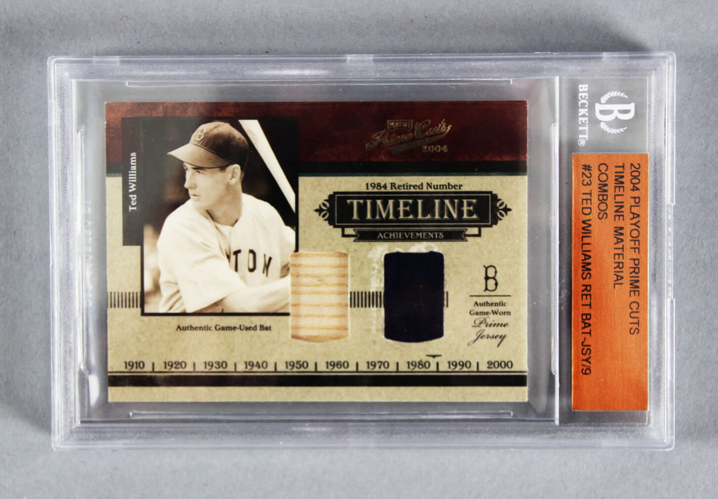 Ted Williams Graded Card 2004 Playoff Prime Cuts Timeline Material Combos 9/9  - Beckett Slab