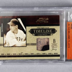 2004 Playoff Prime Cuts Ted Williams Timeline Material Prime 1/9 Baseball Card - Beckett Slab