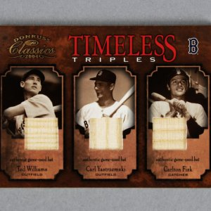 2004 Donruss Classics Ted Williams, Carlton Fisk & Yaz Red Sox Game-Used Bat Card /25 TT1