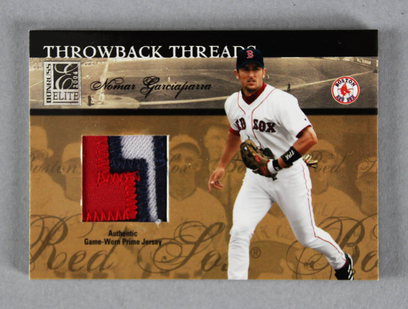 sports shoes cd83b 2e8ce 2004 Donruss Elite Ted Williams & Nomar Garciaparra Game-Used Jersey  Baseball Card Red Sox 4/5 Throwback Threads