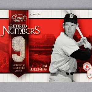 2002 Leaf Ted Williams Retired Numbers Game-Worn Jersey Baseball Card Red Sox 4/9