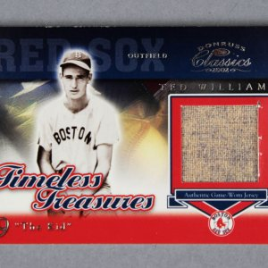 2002 Donruss Classics Ted Williams Game-Worn Jersey Baseball Card Boston Red Sox 8/10