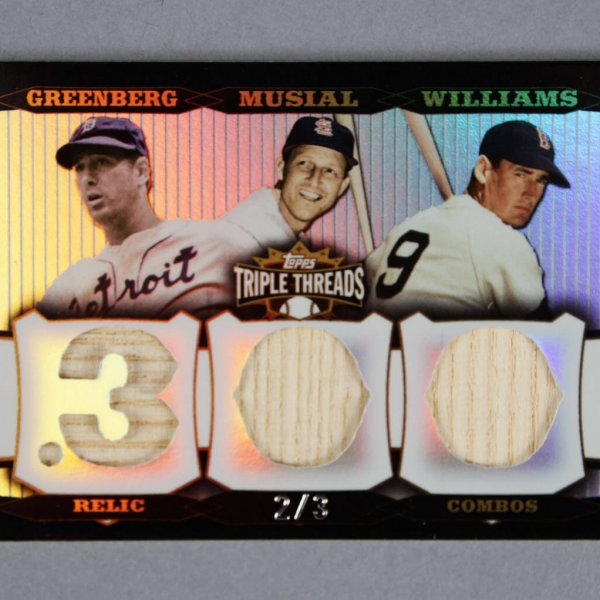 2006 Topps Triple Threads Game Used Bat Card Relic Combos - 2/3 Hank Greenberg, Stan Musial & Ted Williams
