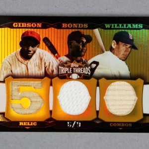 2006 Topps Triple Threads Relic Combos Baseball Card - Josh Gibson, Barry Bonds & Ted Williams 6/9