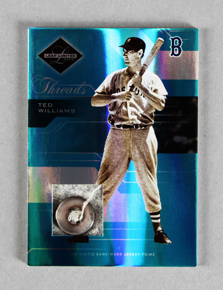 2005 Leaf Limited Threads Ted Williams Game-Worn Red Sox Jersey Button Card Prime 1/3