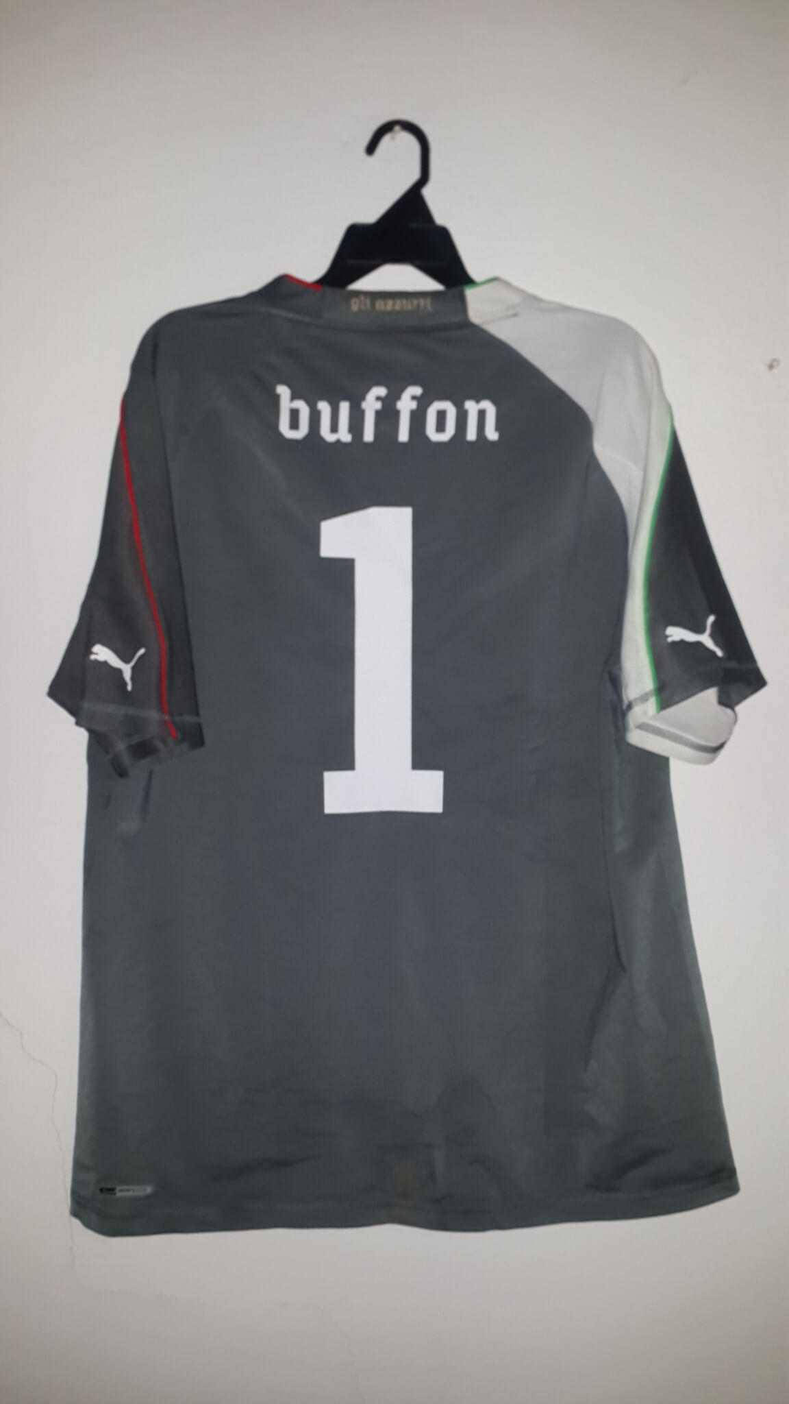 77f65cfbc05 A Gianluigi Buffon Game-Used Unwashed  1 Italy Away Shirt Mexico vs Italy  (2-1) 2010 World Cup Friendly Match 06 03 2010