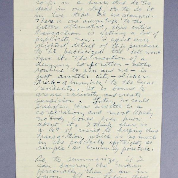 Howard Hughes Handwritten, Signed Letter - JSA Full LOA