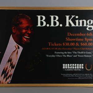 B.B. King Signed Concert Poster in Display - JSA