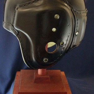 1940's SUPER JET BLACK MACGREGOR H612 VINTAGE LEATHER FOOTBALL HELMET