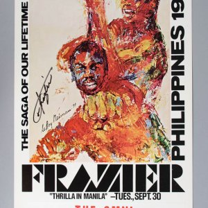 "Muhammad Ali vs Joe Frazier Signed ""Thrilla in Manila"" Fight Poster"