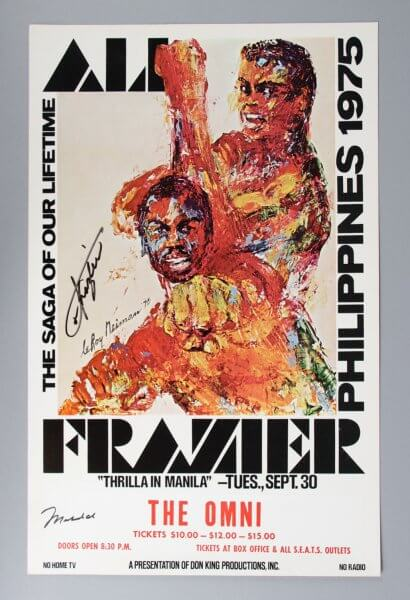 "Muhammad Ali vs Joe Frazier Signed ""Thrilla in Manila"" Fight Poster"
