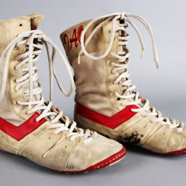 "Manny ""Pacman"" Pacquiao Fight-Worn, Signed Boxing Boots vs. Narogrit Fashung Pirang (PacMan LOA)"