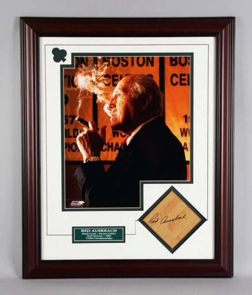 Red Auerbach Signed Boston Celtics Floorboard Display - JSA