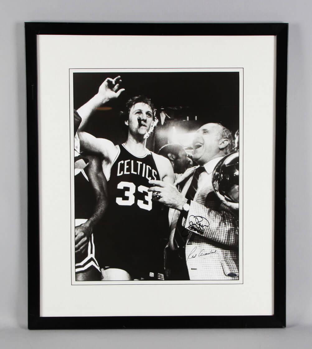 Larry Bird & Red Auerbach Signed 16x20 Boston Celtics Photo - COA Steiner
