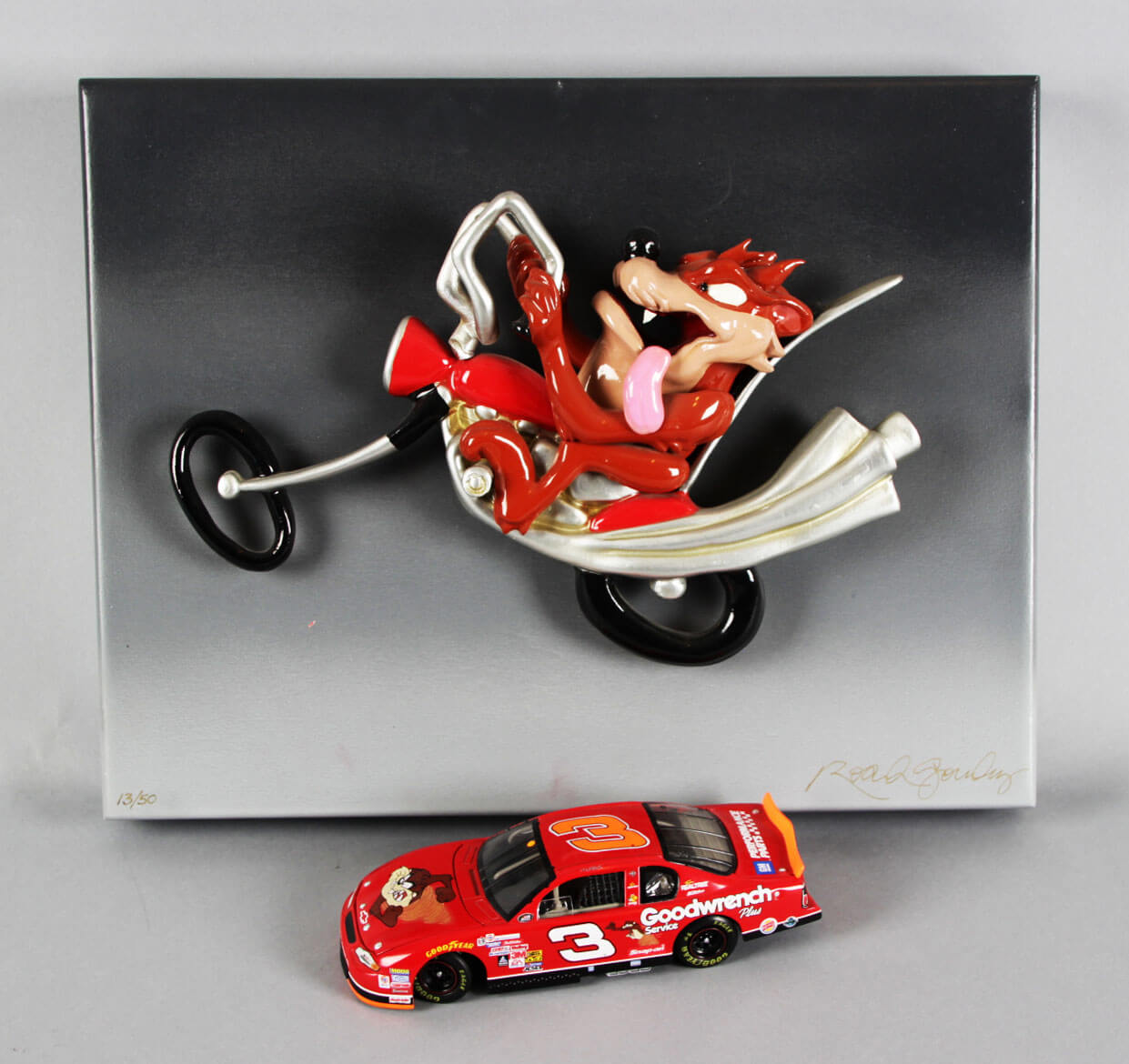 """Tasmanian Devil Signed """"Born To Ride"""" Artwork Pop-Out LE 15/50 with NASCAR Taz Goodwrench Race Car"""