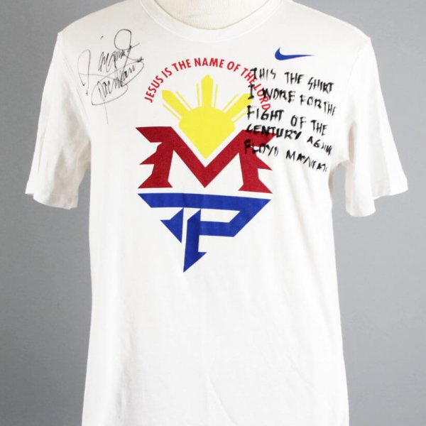 Manny Pacquiao Fight-Worn Shirt vs. Floyd Mayweather, Jr. For Walk Out & Ring Signed & Inscribed (PacMan COA)