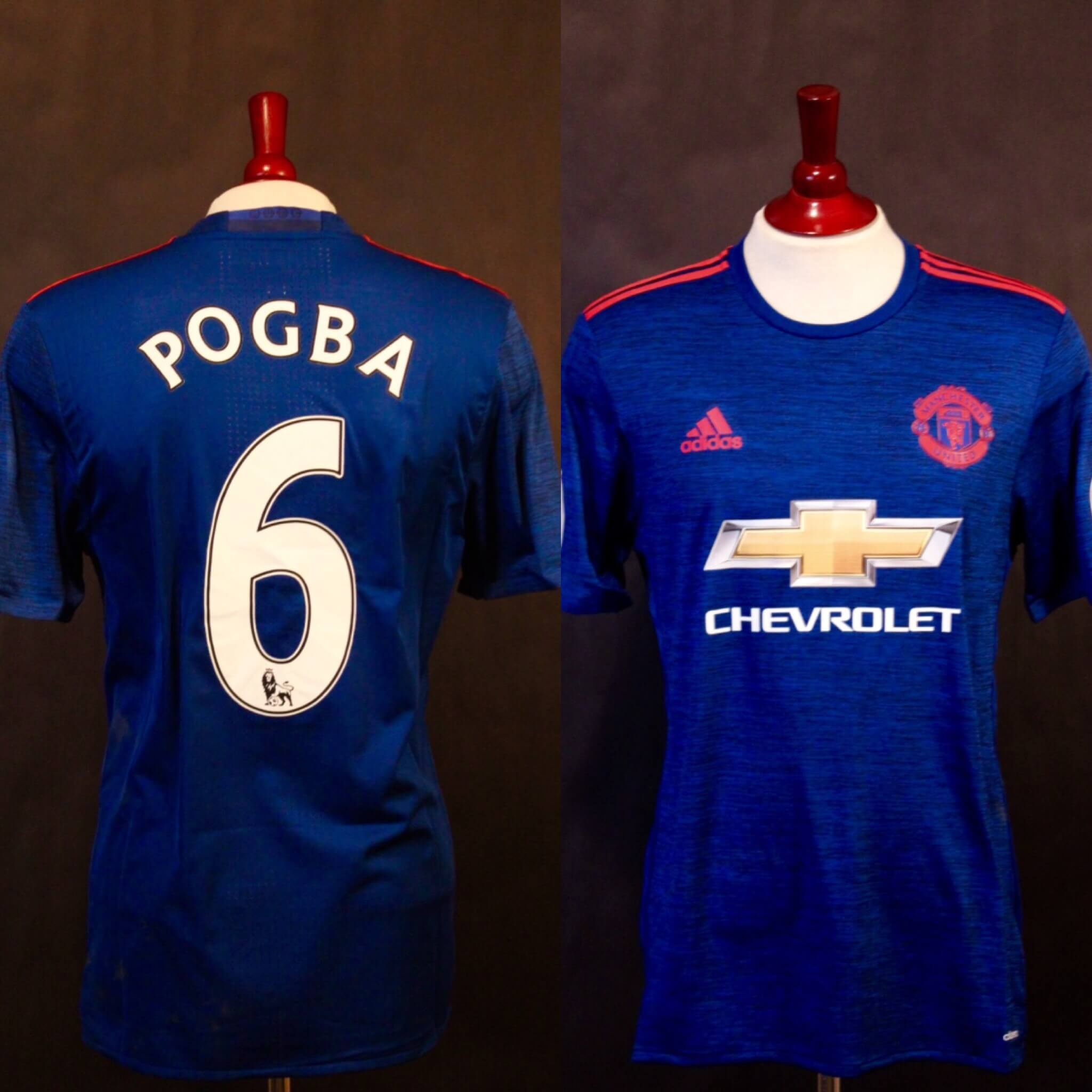 wholesale dealer 214a0 46654 A Paul Pogba Game-Used & Unwashed #6 Manchester United FC Away Shirt.  2016/17 Premier League.