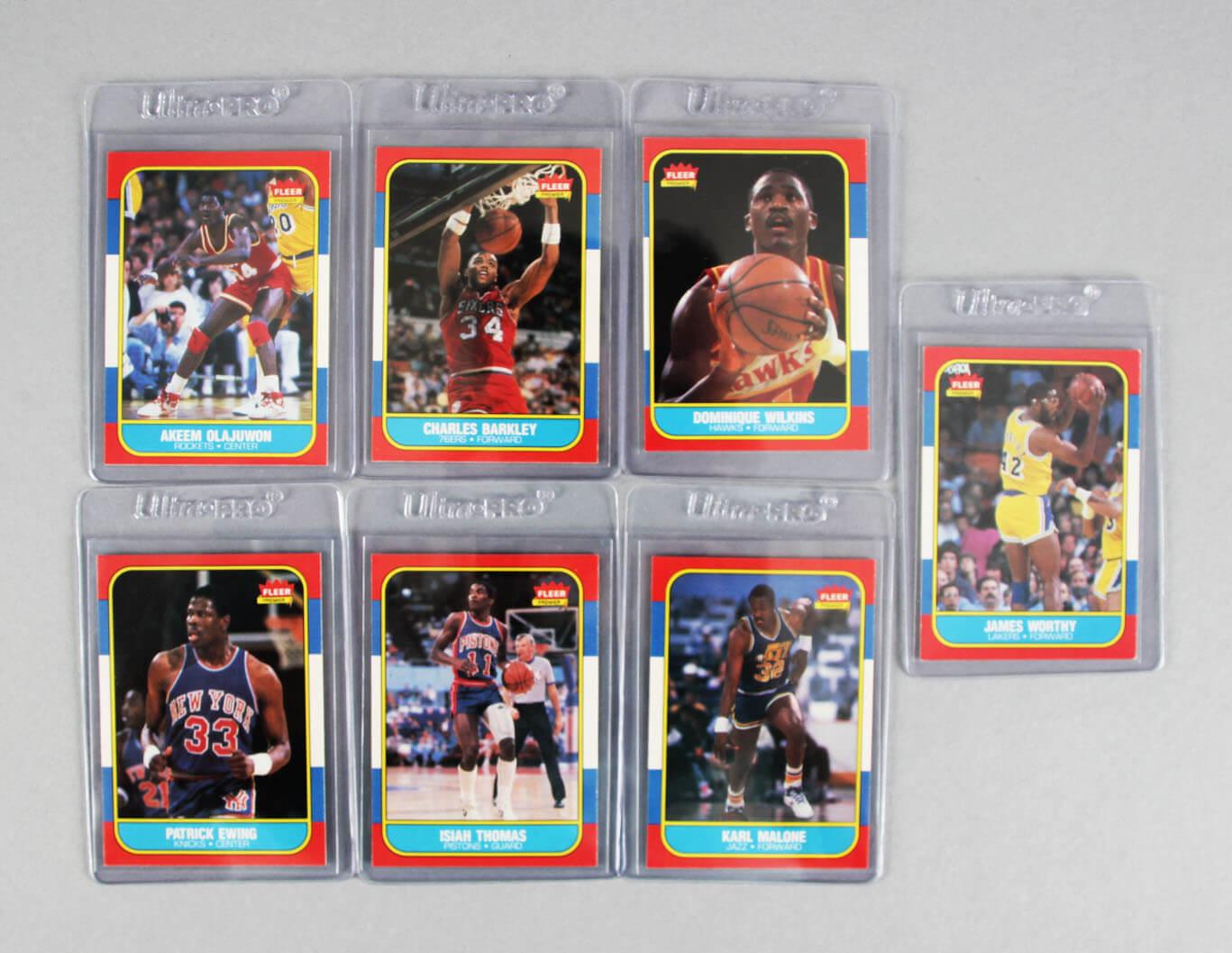 1986-87 Fleer Basketball Card Lot (7) feat. Rookies Barkley, Ewing, Malone, Olajuwon etc.