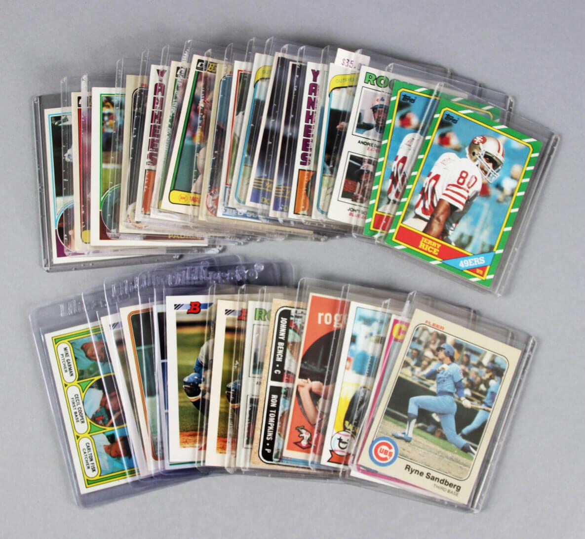 Sports Card Lot (29) Incl. Johnny Bench, Cal Ripken, Jr., Fisk, Staubach, Gwynn, Piazza Rookies etc.