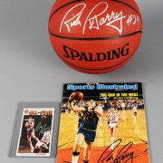 Rick Barry Signed Golden State Warriors Basketball, Card & SI Magazine - JSA