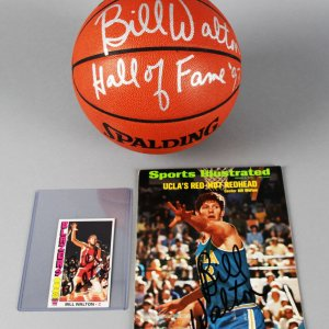 Bill Walton Signed Portland Trailblazers Basketball, Card & SI Magazine - JSA
