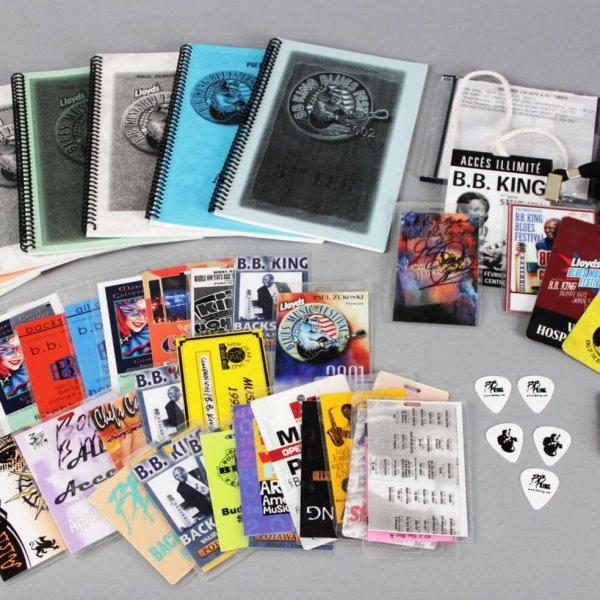 Lot of B.B. King's Backstage Passes, Pins, Guitar Picks & Tour Books