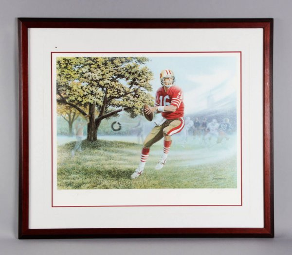 Joe Montana Signed SF 49ers Lithograph - JSA