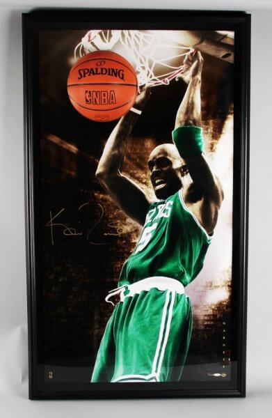 Kevin Garnett Signed Boston Celtics Photo Breaking Through 3D Pop-Out Display - COA UDA