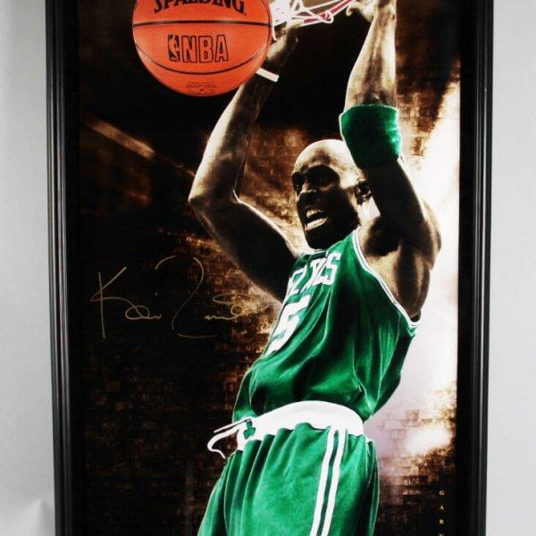 Kevin Garnett Signed Boston Celtics Photo Breaking Through 3D Pop-Out Display - COA UDA