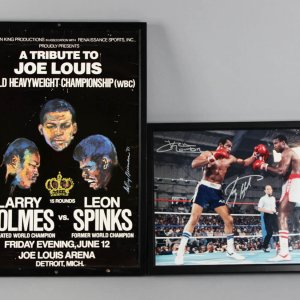 Larry Holmes Personal Collection - Leroy Neiman Fight Poster (vs. Leon Spinks) & Signed 16x20 Photo w/Ken Norton JSA