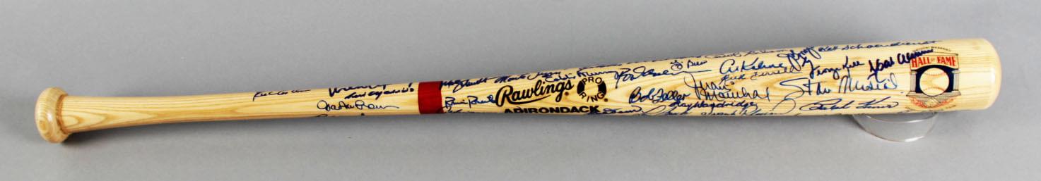 HOF Multi-Signed Baseball Bat - Hank Aaron, Don Drysdale, Catfish Hunter etc. - COA JSA